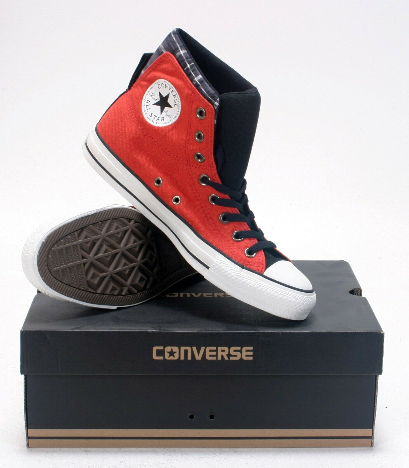 Mens Converse Hi Top Trainers Red New Pattern Rare Style