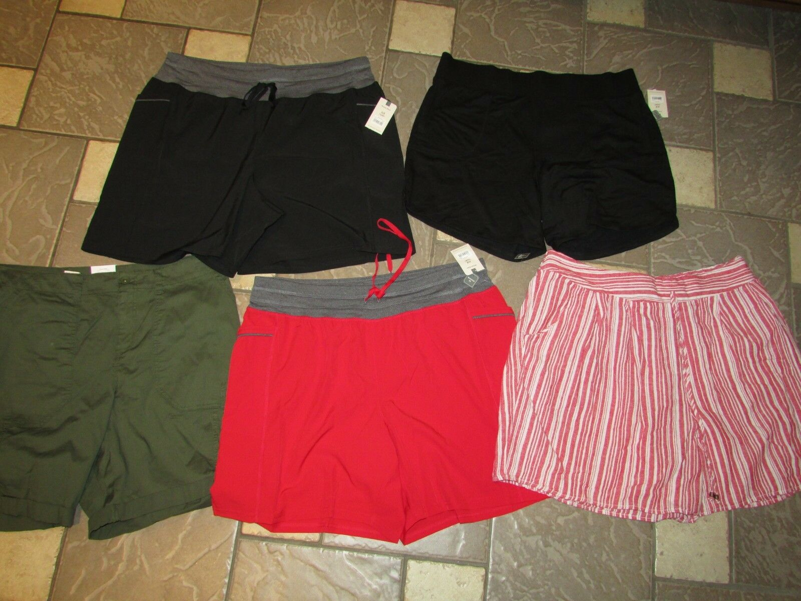 NEW LOT 5 SHORTS WOMENS 0X 14-16 MULTICOLOR LOT WOMENS SHORTS TERRA & SKY