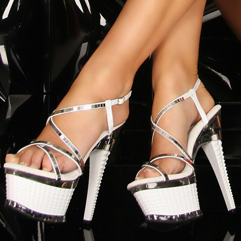 High Heels weiß silber GoGo Dance Fashion Plateau Schuhe Neu 36 37 38 39 40 41