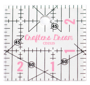 """Crafters Dream Quilting Ruler 2.5/"""" x 2.5/"""" inches"""