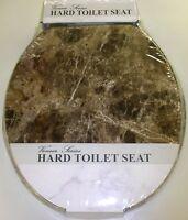 BROWN MARBLE LOOK WOOD TOILET SEAT, STANDARD ROUND