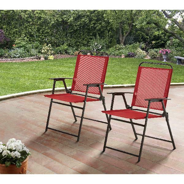 Pleasant Mainstays Pleasant Grove Sling Folding Outdoor Chair Set Of 2 Red Gmtry Best Dining Table And Chair Ideas Images Gmtryco