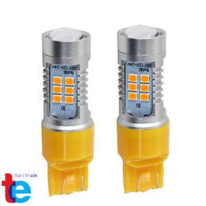 2X 50W 7443 LED Amber Yellow Rear Turn Signal Parking DRL High Power Light Bulbs