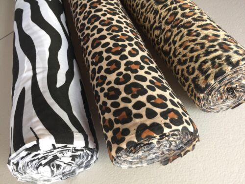 Jaguar Animal Skins Polycotton Fabric Cut Off The Roll Leopard Zebra Stripes