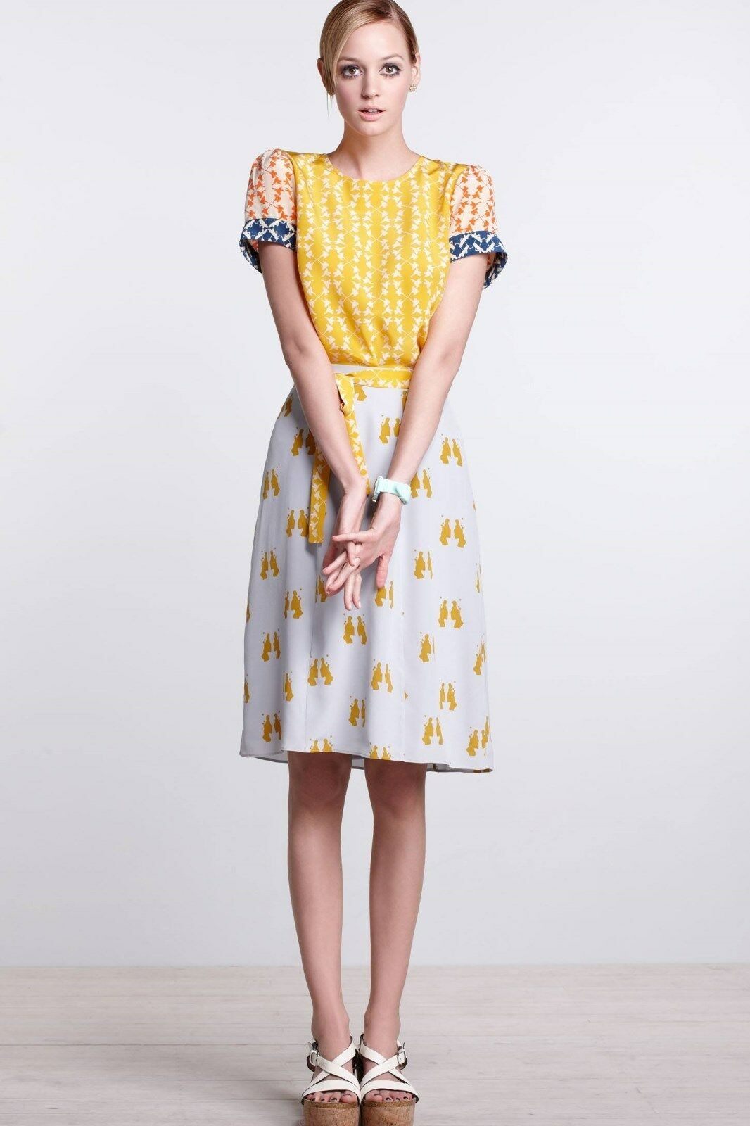 Anthropologie Charlotte Taylor Silk Grey Mustard A-Line Skirt Size 0