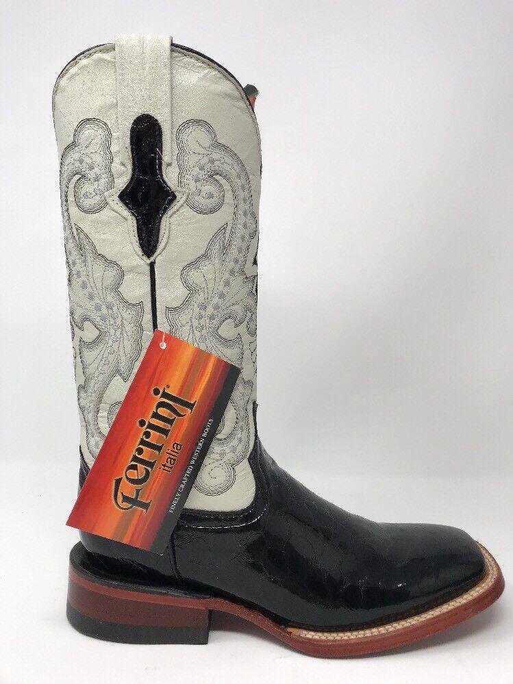 Ferrini Occidental botas dedo del pie cuadrado cuadrado pie para mujer Negro Perla impresión Clásico Gator Talla 6.5 5836e7