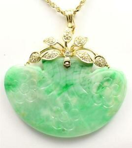 Genuino-Natural-Jade-Verde-Jadeita-amp-Diamante-Colgante-en-14K-Oro-Amarillo