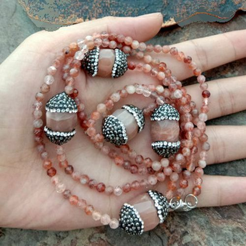 """Natural Faceted Sunstone Noir Strass Pave 36/"""" collier long"""
