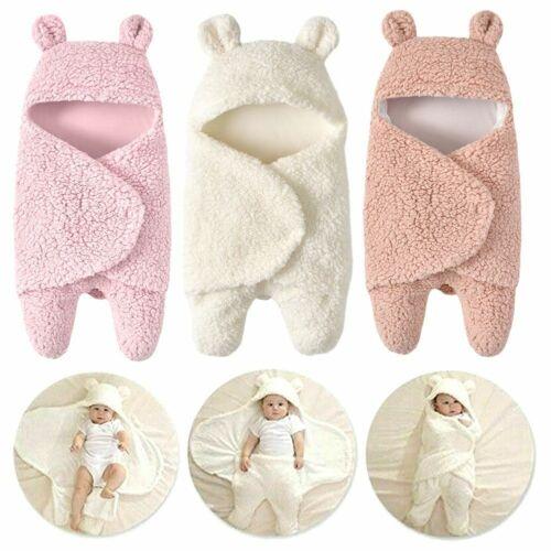 Infant Newborn Baby Soft Warm Fleece Blanket Swaddle Wrap Pram Sleeping Bag Gift