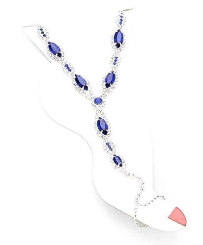 Crystal Anklet Attached Toe Ring Ankle Bracelet Slave Women Blue Silver NEW
