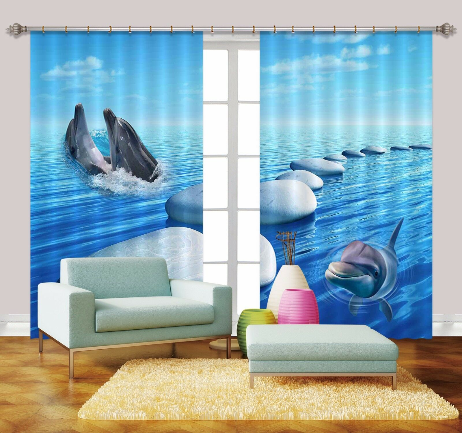 3D Dolphin Bule 773 Blockout Photo Print Curtains Drapes Fabric Window Carly
