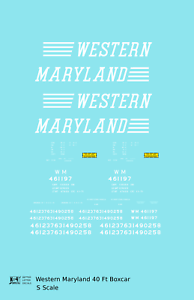 K4-S-Decals-Western-Maryland-40-Ft-Boxcar-White-Speed-Letter