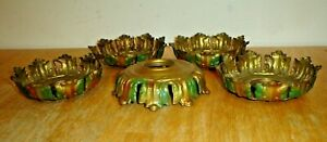 Antique Lot 5 Ornate Brass Lamp, Light Fixture Shade Holders w/ Threaded Fitters