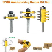 3pcs Woodworking Router Bit Set 8mm Shank Handle T Shape 3 Teeth Cutter Tool Kit