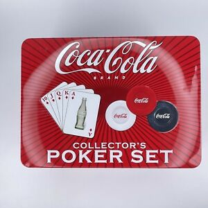 Coca Cola Poker Set Complete Cards and Poker Chips with Collector Tin Tin opened