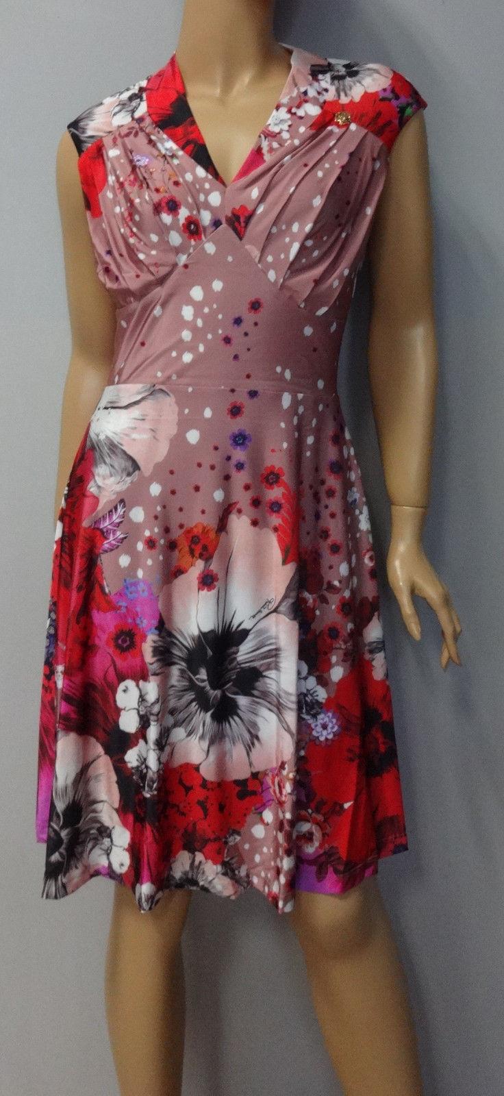 ROBERTO CAVALLI Luxus Designer Kleid bluemen NEU Gr. S,M,L -%%% Red.