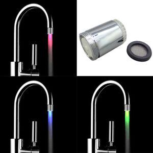 Glow LED Faucet Water Tap Temperature Sensor Light RGB 3 Color Shower Kitchen