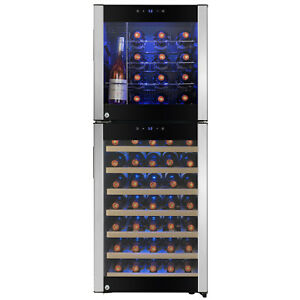 58 Bottle Touch Panel Dual Zone Wire Shelves Freestanding Compressor