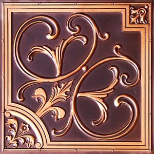 Image Is Loading Faux Tin Ceiling Tile 204 Antique Copper Easy