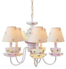 5 Light Antique White Tea Cup Chandelier, New! Ceiling Fixture Kids Pink