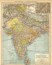 Alte historische Landkarte 1898: Ostindien I: Vorderindien. Indien (B14) *b