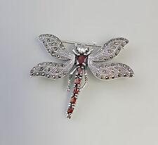 27311 925er Silber Granat Markasit Brosche Anhänger Libelle