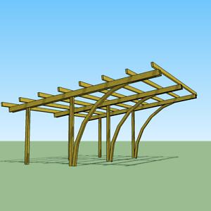 Carport in legno 6x5x2 70 copertura per 2 auto gazebo for Pergola addossata fai da te