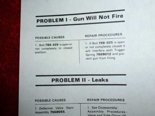 Crosman 788 Factory Service Manual No 0-ring Seals Exploded View /& Parts List