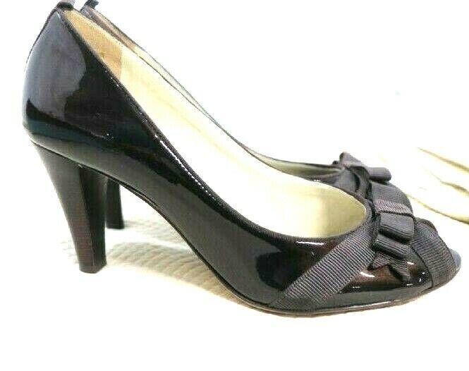 Antonio Melani Brown Open Peep Toe Patent Leather Darling Pumps in Fudge 8M