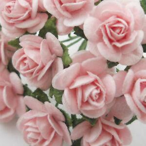 Details About 100 Small Soft Pink Paper Craft Flower Wedding Scrapbook Crafts Rose 2 R8