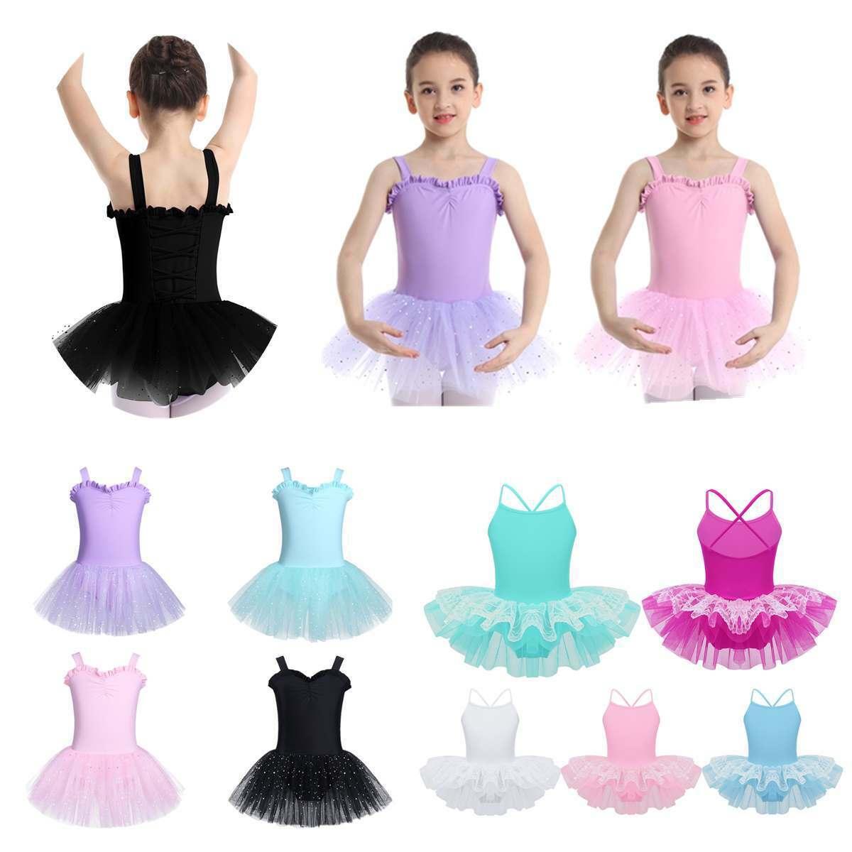 Kids Girls Ruffled Sweetheart Chest Ballet Dance Leotard Dress Mesh Tutu Skirt
