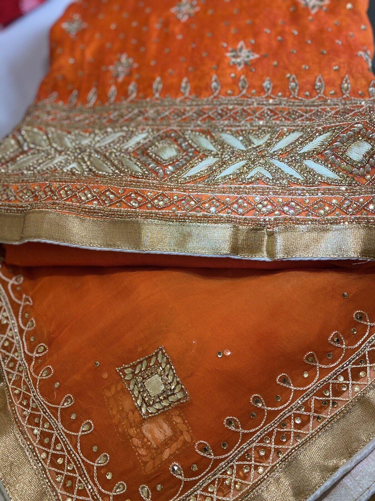 Unstitched Asian Ladies Salwar Kameez Heavy Duppata, 5 Metre All Over Suit