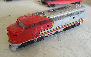 Vintage-1980s-HO-Scale-Bachmann-Weathered-Santa-Fe-307-Locomotive