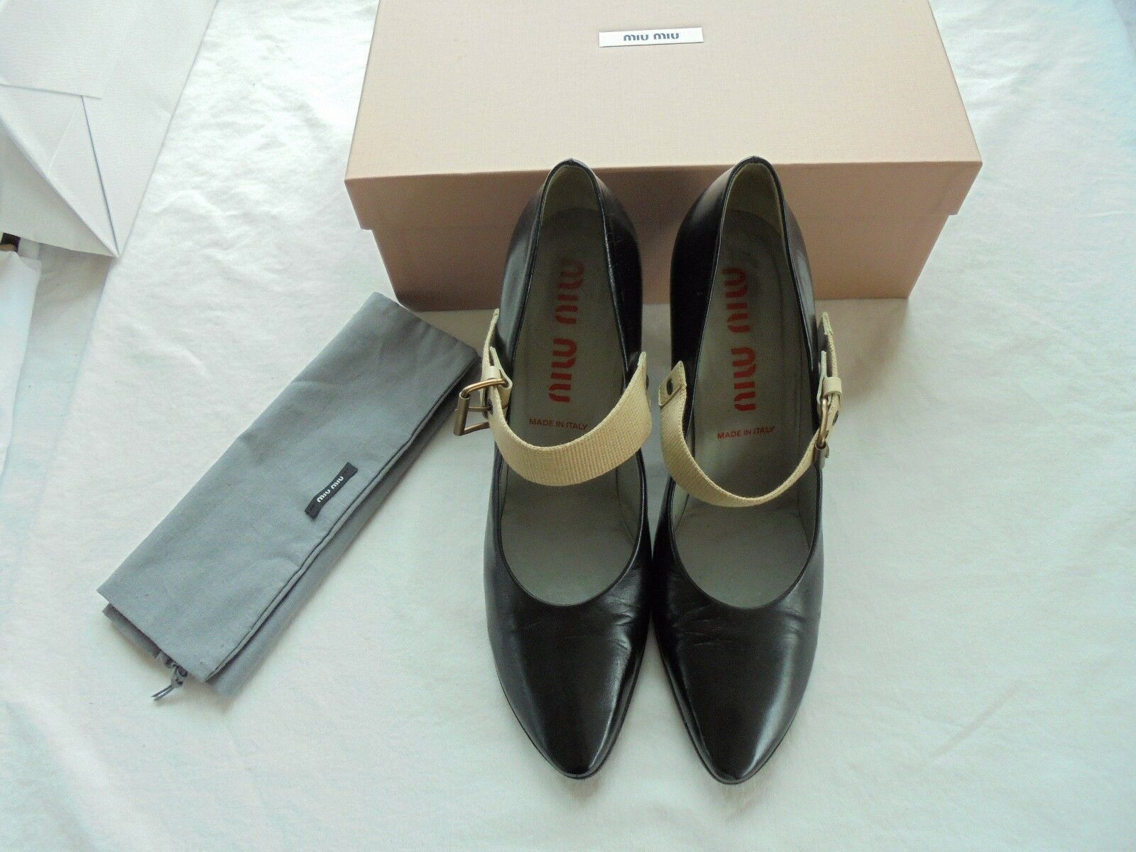 Miu Miu by  Prada Leder Pumps NP:  by w NEU Luxus High Heels Schuhe Gr. 39 271b08