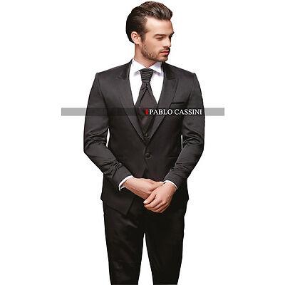 PABLO CASSINI Designer Herren Anzug Schwarz Hochzeitsanzug Bräutigam  PC_23