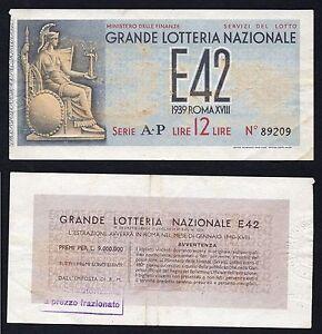 Italy 12 Lire Big Lottery National E42 1939