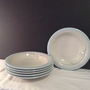 Noritake-Stoneware-Made-In-Japan-Rainbow-End-8405-Set-of-6-Rimmed-Soup-Bowl