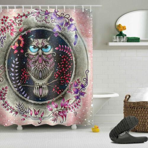 12 Hooks 4116 60X72/'/' night owl Shower Curtain Fabric Waterproof Bathroom