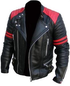 Dettagli su Men's Brando Moto Vintage Classico Vera Pelle Da Motociclista Giacca Colore Nero mostra il titolo originale