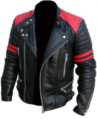 CLASSIC DESIGN BRANDO RED /& BLACK MEN/'S MOTORCYCLE BIKER GENUINE LEATHER JACKET