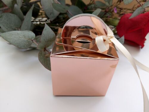 Rose Gold Favor Boxes Wedding Favours Bridal Engaged Thank You Sweets Candy 10