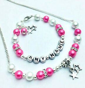 Girls-Ladies-personalised-name-BRACELET-or-NECKLACE-or-SET-christmas-gift-party