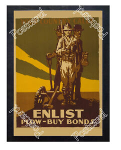 Historic-WWI-Recrutiment-Poster-Enlist-Plow-buy-bonds-Postcard