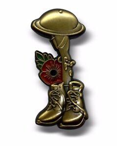 2020 Helmet Gun World War Soldier Veteran Purple Poppy Brooch Enamel Pin Badge
