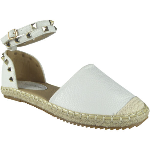 New Womens Ladies Ankle Strap Studded Espadrilles Shoes Sandals Flats Size