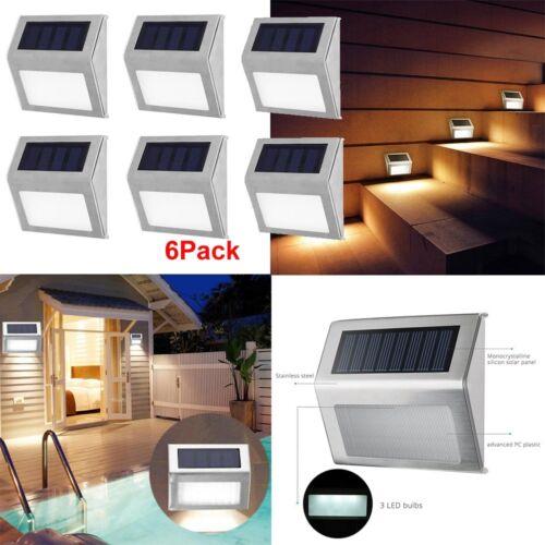 6pcs LED Lampe Solaire Éclairage Jardin Extérieures Lumière Acier Inoxydable