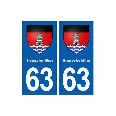 63 Brassac-les-Mines blason autocollant plaque stickers ville -  Angles : droits