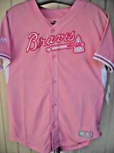pretty nice 86f67 56d3f Details about ATLANTA BRAVES GIRLS LARGE (L) SIZE 14 PINK BRAVES/TOMAHAWK  LOGO MAJESTIC JERSEY