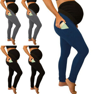 Women-Maternity-Solid-Leggings-Support-Abdominal-Yoga-Pants-Stretch-Trousers
