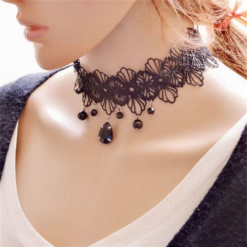 Fashion Gothic Black Lace Retro Choker Collar Flower Pendant Necklace Jewelry S/&